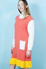 The Whitepepper Hipster Block Colour Knitted Dress Pleated Hem Pink