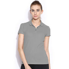 POLO NATION WOMEN GREY SOLID COTTON POLO T-SHIRT
