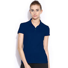 POLO NATION WOMEN BLUE SOLID COTTON POLO T-SHIRT