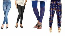 Women Jeggings Leggings Combo of 4 - 2 Jeggings 1 Trouser & 1 Lace Leggings