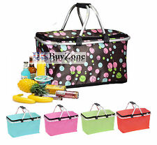 Large 35l Folding Picnic Camping Insulated Cooler Cool Hamper Basket Zip Bag Box