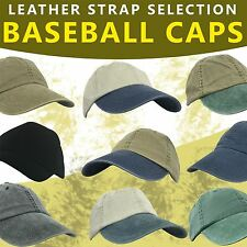 KC CAPS SELECTION OF COLOUR'S PLAIN ADULT BASEBALL CAP LEATHER CLOSURE STRAP