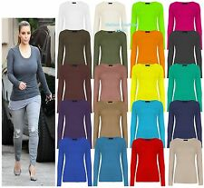 New Womens Long Sleeve Stretch Plain Round Scoop Neck Ladies T-Shirt Top 8-14.