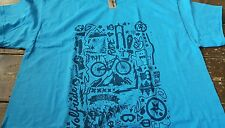 Funky mountain bike printed t-shirt on blue good quality top