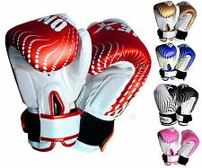 Leather 6oz Boxing Gloves Sparring Punch Bag Muay Thai kickboxing Training MMA