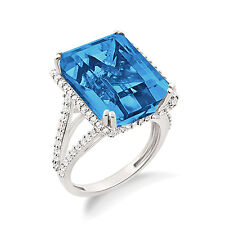 Blue Topaz Amazing Cocktail Emerald Cut  Ring For Women In White Plated