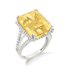 Exquisite !! Yellow Citrine Cocktail Ring In Emerald Cut Stone White Gold Plated