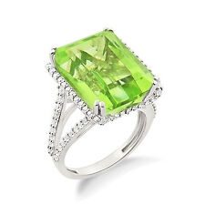 Divine Peridot Emerald Cut  Engagement Cocktail Ring in WH Gold Plated