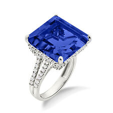 925 Sterling Silver Women's Cocktail Blue Sapphire Ring In White Gold Plated