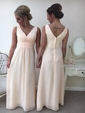 NEW LONG CHIFFON WEDDING BRIDESMAID FORMAL PARTY PROM EVENING MAXI DRESS