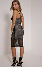 PrettyLittleThing Womens Ladies Gabby Nude Lace Lining Sequin Sexy Bodycon Dress