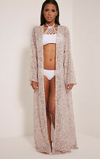 PrettyLittleThing Womens Ladies Xalia Nude Star Print Sheer Maxi Kimono