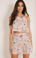 PrettyLittleThing Womens Mini Skirt Ladies Paulina Pink Floral Print A-Line