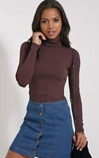 PrettyLittleThing Womens Top Rheta Chocolate Ribbed Polo Neck Long Sleeve
