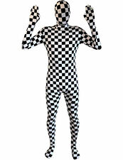 Adult Checked Morphsuit Black White Chess Suit Fancy Dress Costume