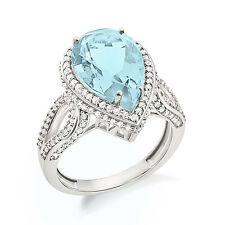 Aquamarine Pear Shape Ring For Women In White Gold Plated In 925 Sterling Silver