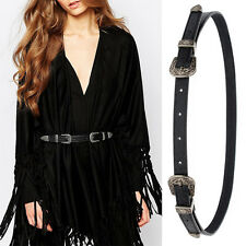 Stylish Women Lady Vintage Metal Boho Leather Double Buckle Waist Belt Waistband