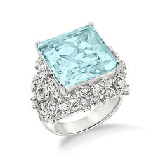 Amazing Collection!!!Cocktail Rings In Aquamarine With Sim.Diamond For Women