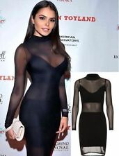 Womens Ladies Celeb Alana Campos Mesh Insert Bodycon Dress Polo Neck Long Sleeve