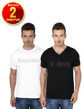 2 Combo Pack Multi Style Men's Round Neck & V-Neck Short Sleeve Tshirts-Rs(599)