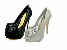 Ladies Brushed suedette high heel court shoes with large bow
