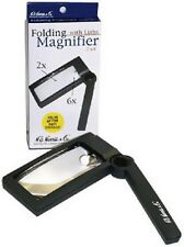 HE Harris Illuminated Folding Magnifier 2X 6X Lens Coin Banknote Map Stamp Free