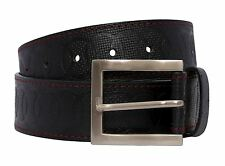 New Mens Circle Textured Red Stitched Black Genuine Leather Stylish Belt S-3XL