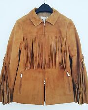 H&M Trend Premium Real Leather Suede Tan Fringed Jacket UK 6 8 10 12 14 16 18