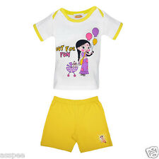 Luke and Lilly Chhota Bheem Printed Cotton T-Shirts and Shorts for Baby Girls