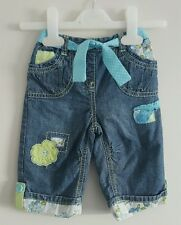 NEXT Baby girls denim blue jeans with floral detail age 3-6 months
