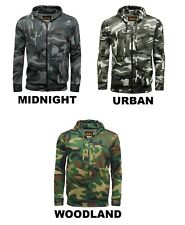 Mens Camouflage Army Camo Fleece Hoodie Zipper Hooded Zip Top Hoodies Hunting BN