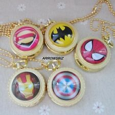 Antique Golden Series Super Hero Necklace Chain Pendant Fob Pocket Watch