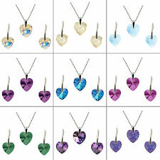 HEART CRYSTAL STERLING SILVER SET (VARIOUS COLOURS) made with SWAROVSKI® Crystal