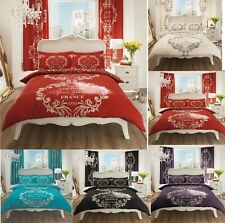 Script Paris Modern Duvet Cover Floral Bedding Set Single Double King Super King