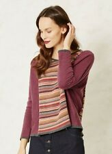 Braintree Emmi Organic Cotton Striped Red Orange Batwing Top Jumper V Neck Comfy
