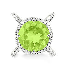 Silver Dew 925 Sterling Silver Peridot Round Shape Cocktail Engagement Ring
