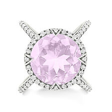 Silver Dew 925 Sterling Silver Pink Amethyst Round Cocktail Engagement Ring