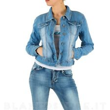 Giacca JEANS donna giubbino corto denim JACKET stretch tasche bottoni NUOVO