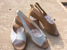 2 TWO PAIRS MARKS AND SPENCER FOOTGLOVE WIDER FIT SANDALS. ONE WHITE ONE NATURAL