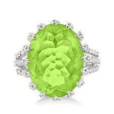 Silver Dew 925 Sterling Silver Beautiful Peridot Oval Shape Cocktail Ring