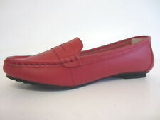 Down To Earth F8R995 Donna Basse Rosso Mocassino in pelle UK 4 To 6 (R1a)
