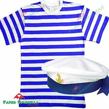 Uomo Marinaio costume Blu Bianco a righe T-SHIRT + CAPPELLO outfit Cervo