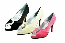 Ladies shimmer medium heel crescent diamante peep toe party shoes