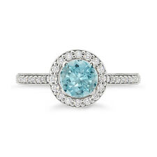 925 Sterling Silver Amazing Halo Studded Aquamarine Ring For Woman's As Gifting
