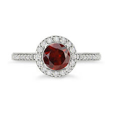 925 Sterling Silver Round Shape Amazing Halo Garnet  Ring For Woman's