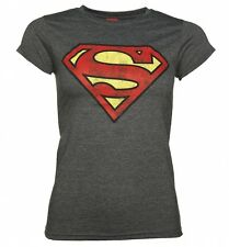 Women's Charcoal Distressed Superman Logo T-Shirt