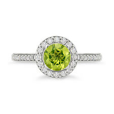 Round Shape Amazing Peridot 925 Sterling Silver Halo Ring For Daily Wear Use