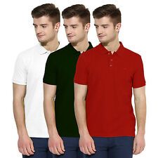 Polo Nation Men Solid  Cotton Polo T-Shirt Pack Of 3 (Red,Green,White)