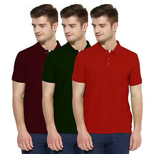 Polo Nation Men Solid  Cotton Polo T-Shirt Pack Of 3 (Red,Green,Navy Blue)