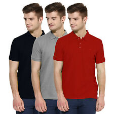 Polo Nation Men Solid  Cotton Polo T-Shirt Pack Of 3 (Red,Grey,Navy Blue)